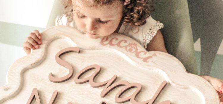 Babynamecool targhetta in legno fatta a mano con il nome del tuo bambino